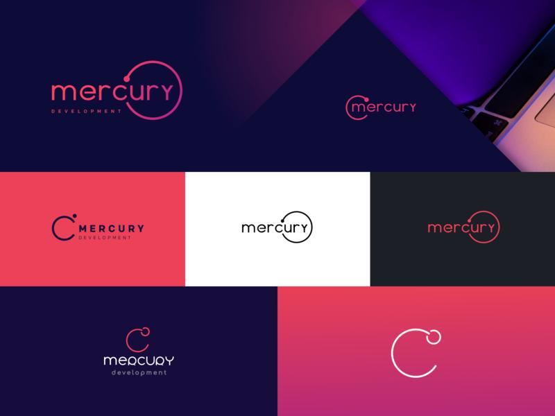 Mercury Development Logo development design brand abstract vector logo cosmic mercury sun space shuttle satellite planet mobile icon gradient