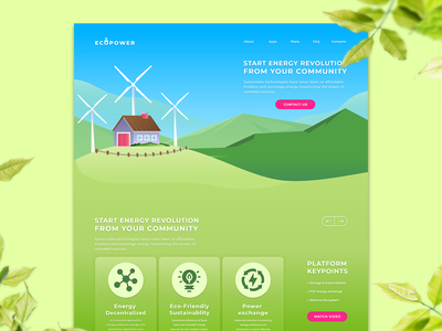 Daily UI Challenge - Landing Page (Ecopower) uidaily uidailychallenge energy website app calculator