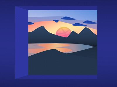 Hello Dribbble ! ✌️ sun sunrise photoshop debut illustration