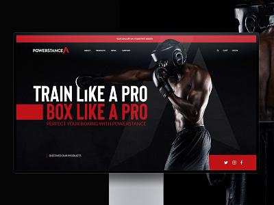 POWERSTANCE - Website Design black fight training fitness sport boxing photography homepage web website ux branding ui simple clean logo typography design minimalist minimal