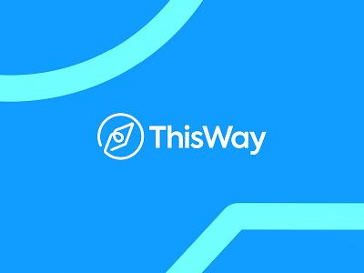This Way  |  Logo Design circle round technology modern blue animation compass mentor branding simple clean logo typography design minimalist minimal