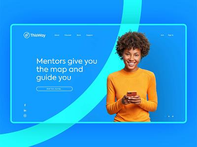This Way | Website Design business friendly life mentor branding simple clean logo typography minimalist minimal compass orange blue corporate modern design ux ui mentor website