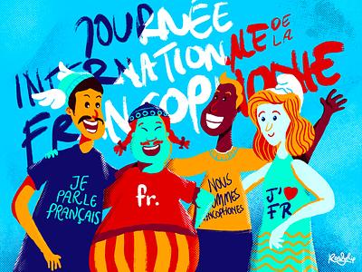 Journée internationale de la FrancophonieFrancophonie comic cartoon french france francophone francophonie illustration