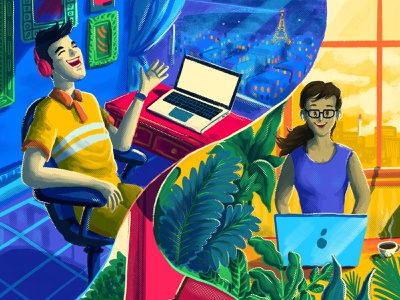 Remote Working working book cover pandemic employee laptop workers work from home remote working illustration