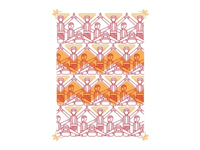 Ratoh Jaroe motifs pattern dance traditional line art graphic design indonesia illustration