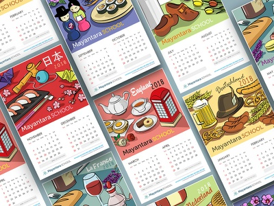 Calendar Project for Mayantara School layout calendar calendar design branding design graphic design illustration