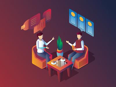 Consulting and Companion Illustration isometric talk brand companion consultation consulting design branding app ux ui vector graphic design illustration