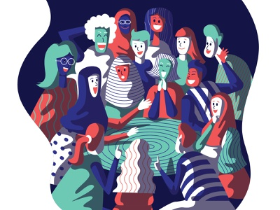 Retrouvaille friendship happy people gathering reunion ui graphic design illustration
