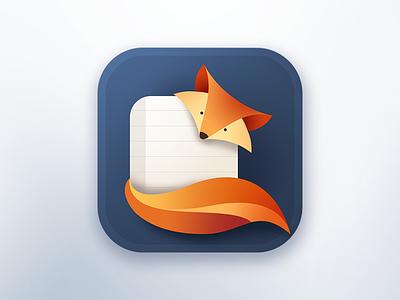 Foxy Note orange flat logo foxy animal paper note riggs ios app icon fox