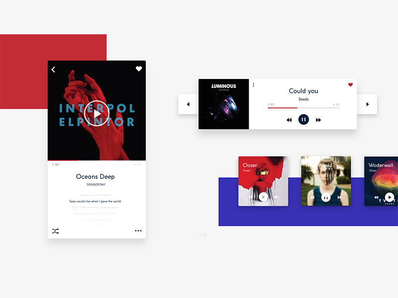 Music app interface exercises