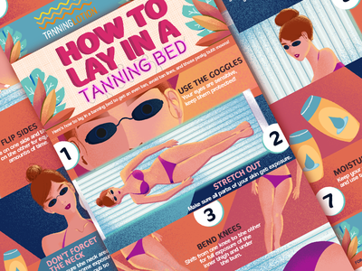 How to Lay in a Tanning Bed Infographic art tropical summer color design lotion tanning infographic