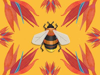 Tiny Creatures of Paradise (3/3) digitalpaint colors tropical design artph art illustration digital bee gucci