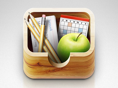 App Icon app icon logo box wood texture objects school office supplies education ios