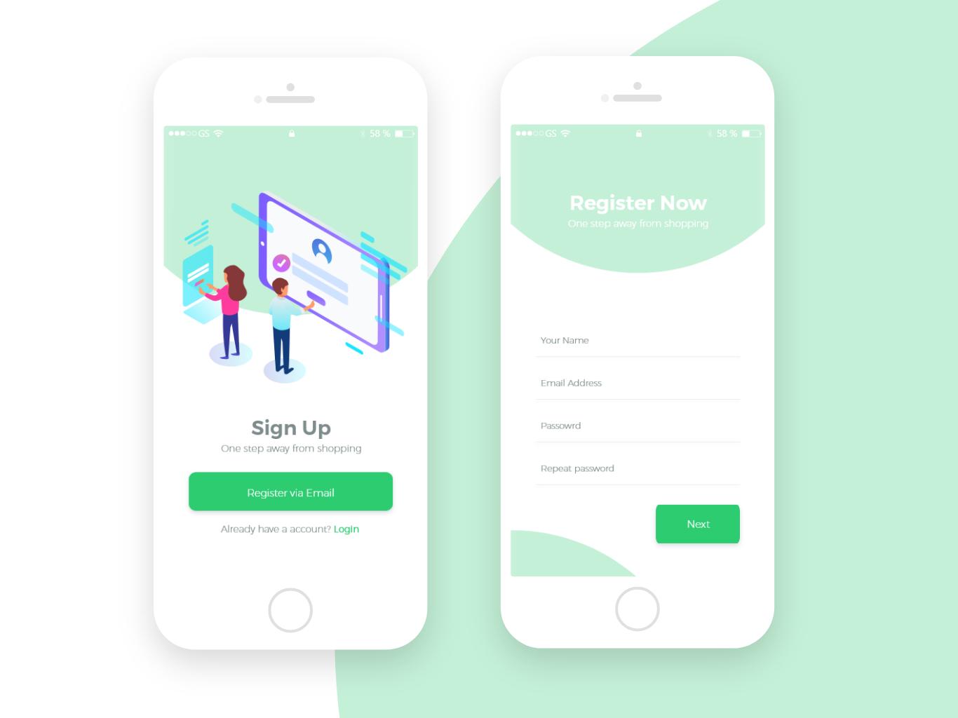 User Register Screens mobile app design ux vector illustration ui app concept app design design mobile