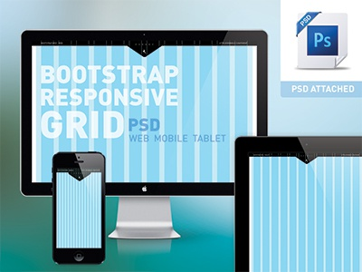 Bootstrap responsive grid PSD - Mobile, Tablet, Web - Free photoshop grid psd freebie mobile tablet bootstrap responsive free layout template website iphone android ios ipad browser css sass framework twitter download html platform less html5 cross