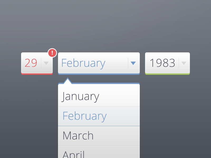 Date of Birth! dropdown birth date ui icon select month input button popover