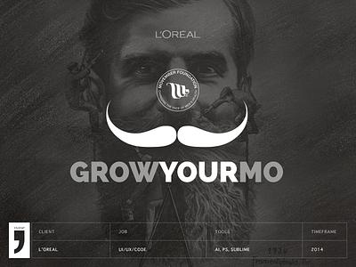 Grow your mo - Movember feelings from L'Oreal via LinkedIN movember loreal ui ux mustache mo illustration php jquery html5 linkedin