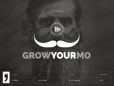 Grow your mo - Movember feelings from L'Oreal via LinkedIN movember loreal ui ux mustache mo illustration php jquery html5 linkedin