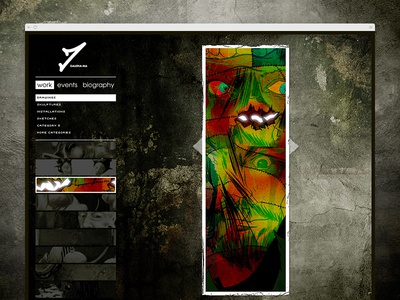 Oldschool website gallery/portfolio design mockup.