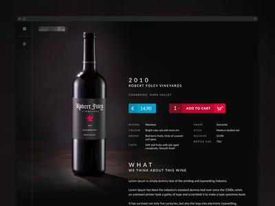 Wine Product Detail - clean eCommerce Detail Design ecommerce shop material clean dark product ui ux design website wine vineyard