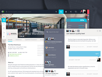 Company Profile + Chat Design SaaS group conversation design layout ux ui chat saas page profile