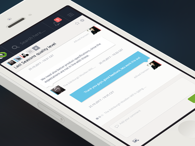 Mobile chat design - Clean layout for iPhone / Android responsive react.js white clean layout ux ui design chat saas webapp mobile