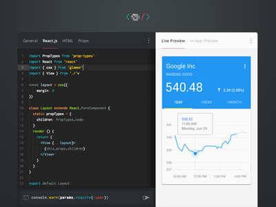 React Inline Code Editor Design with Live Preview - Dark codemirror atom js preview live react reactjs dark theme editor code inline