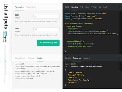 Clean REST API Documentation Design, Beautiful API Docs, Swagger tryout live rest design console editor code swagger apidocs documentation docs api