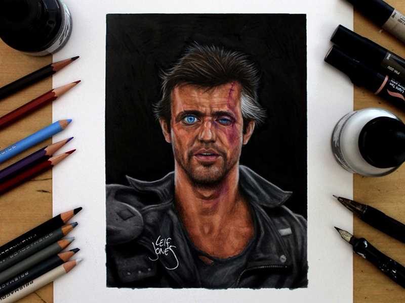 Mad Max drawing ink celebrity mel gibson face studio portrait mad max illustration movie