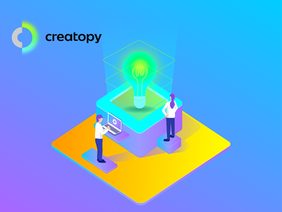Creativity Let it Glow  01 3d ui isometric icons design vector graphic design illustration colorful adobe illustrator