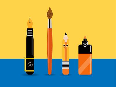 Still Life Around My Home. colorful art materials brush pencil pen branding graphic design