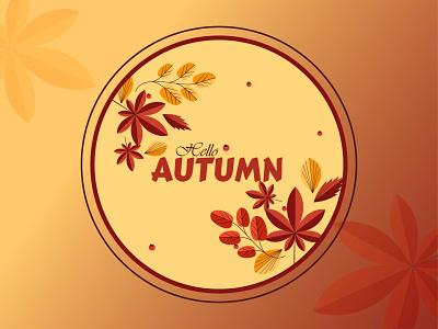 "A badge design inspired by my favorite season ""Autumn"". badge design vector colorful illustration adobe illustrator graphic design"