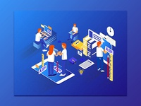 Isometric Illustration_Online Education_Concept_02.