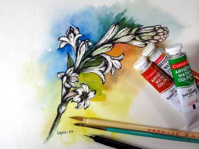 Watercolor with Pen sketch.
