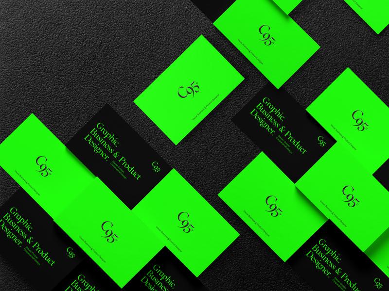 C95 business cards typography icon branding design logo branding design