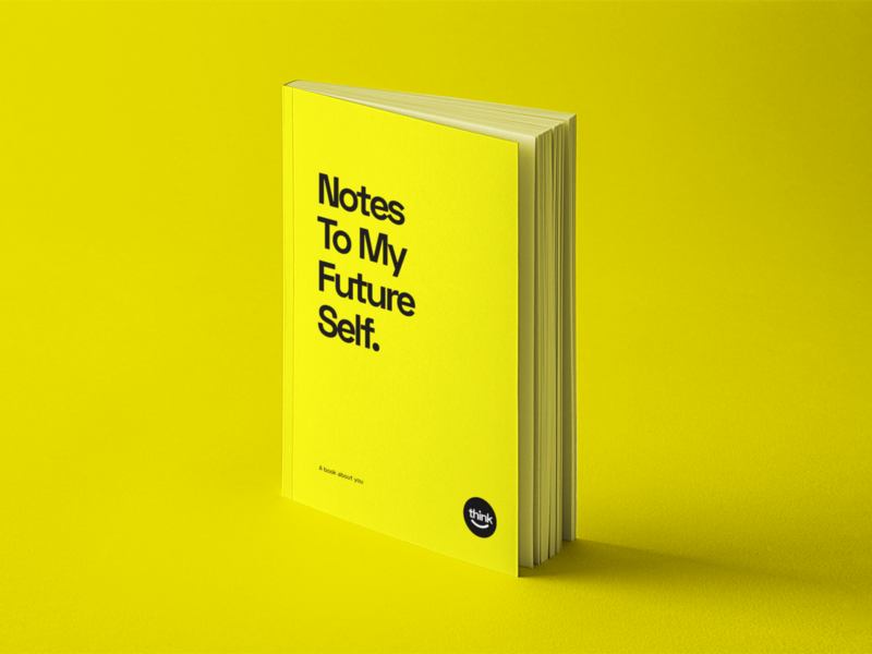 Notes To My Future Self book cover book interaction typography illustration branding design logo branding design