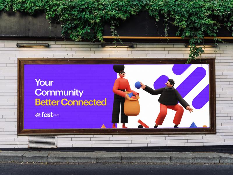 Fast Cast billboard vector typography icon illustration branding design logo branding design
