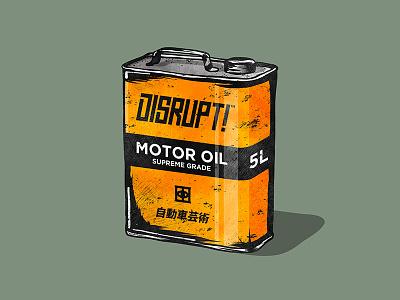Got oil? illustration vector art automotive motorcycle race oil tokyo japan car wrap vehicle