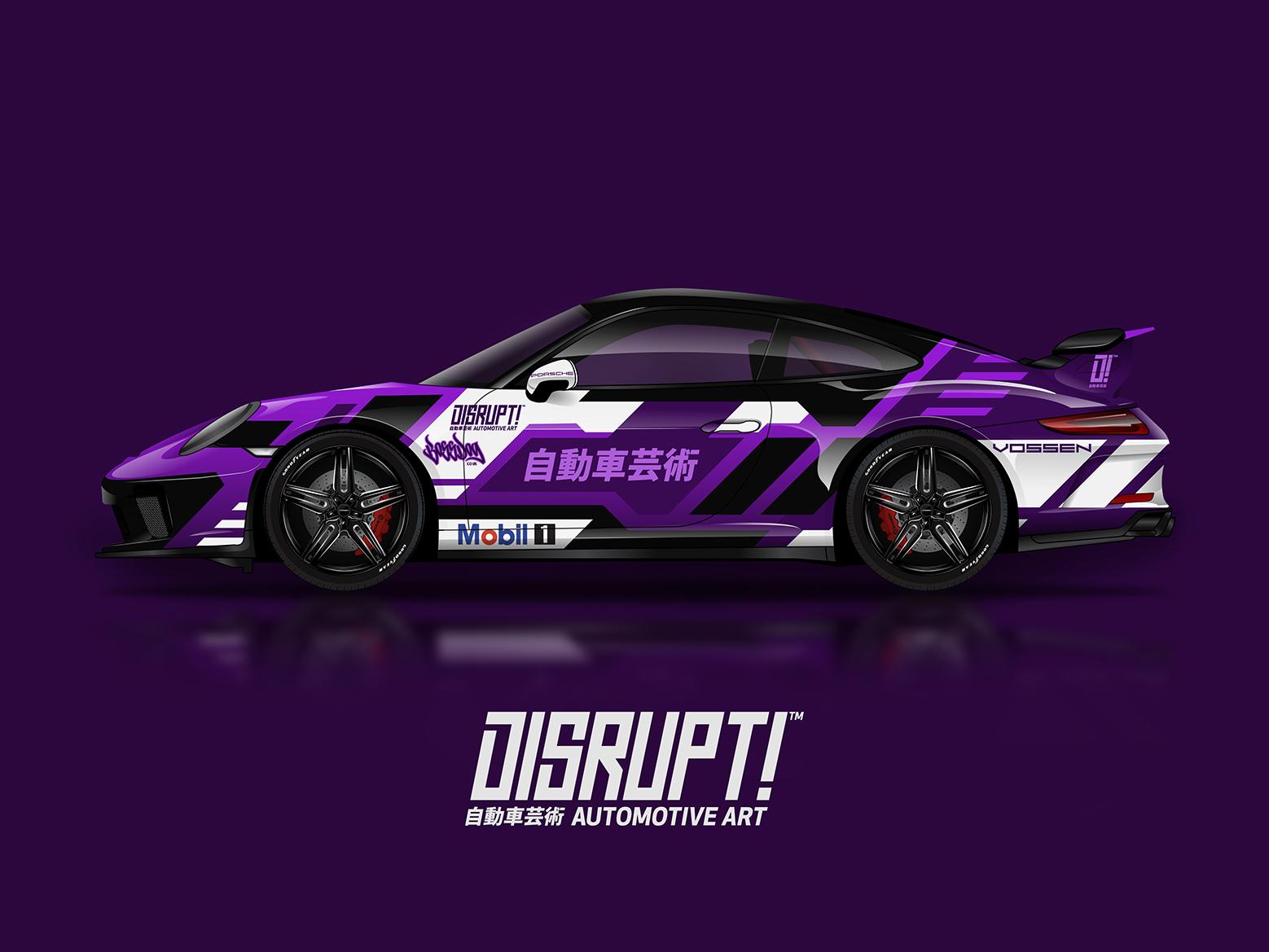 Porsche 911 Gt3 Vehicle Wrap Design 911 vinyl race vector porsche illustration design wrap car