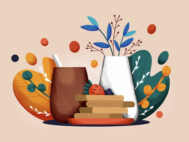 Coffee & Waffles food breakfast waffles plant coffee procreate illustration