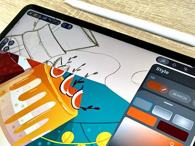 Coffee & Cake ipad food dessert cake vector vectornator plant coffee illustration