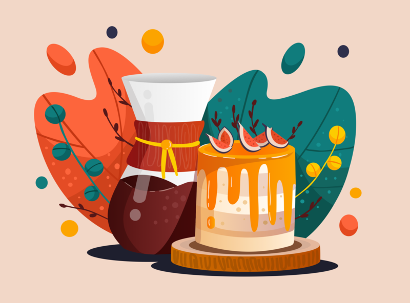 Coffee & Cake ipad food dessert cake vector vectornator plant coffee illustration