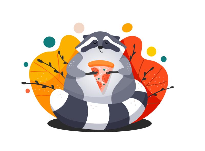 Racoon Illustration digitalart ipad cute animal food pizza racoon illustration