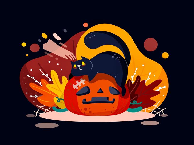 BOOO! autumn spooky halloween publication pumpkins illustration
