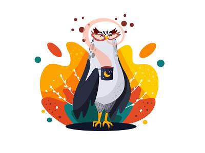 Sleepy Owl vectornator vector ipad animal owl coffee illustration