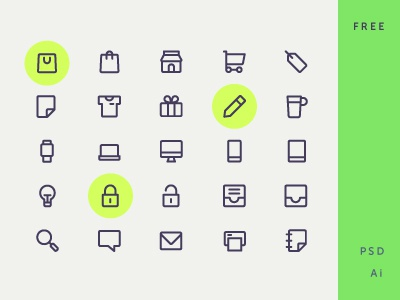 Free Icon Set vector essential device shopping icon design icon set freebie