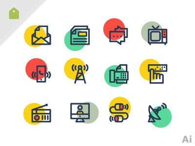 Free Communication icons call antenna brail letter chat comminication radio icons freebie free