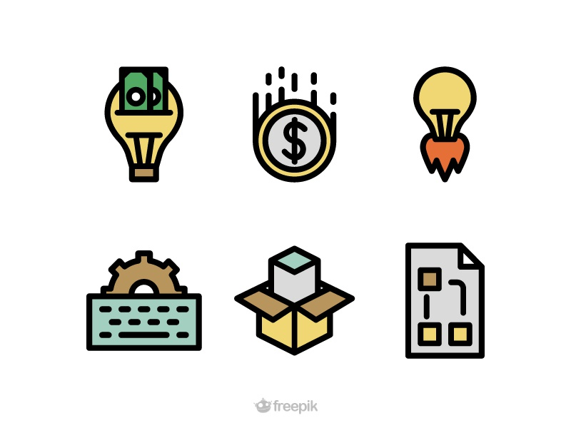 Startup Icons freebie free map strategy product release box keyboard startup coin lamp icons