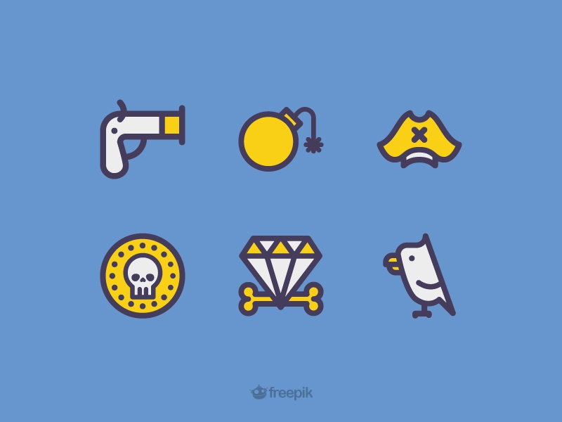 Freebie: Pirates icons parrot bomb gem sea hat gun pirate skull coin free freebie icons