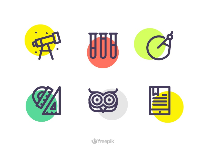 Education Icons online learning compass lab pipes telescope ebook owl ruler free icons freebie education